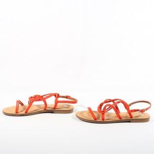 BP Shoes - BP Lana Womens Strappy Flat Sandals Orange Size 11